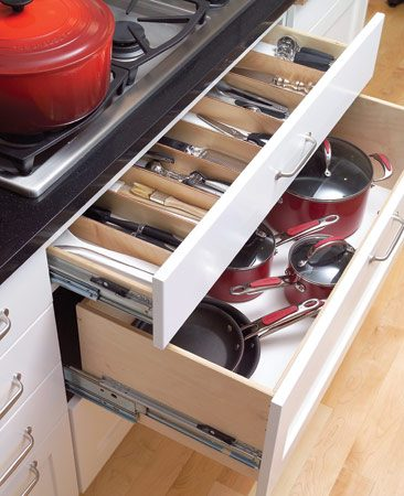 <b>Well planned drawer configuration</b></br> Shallow drawers directly beneath the cooktop store spatulas, tongs and other cooking utensils in the area where they're used. Deeper drawers below keep pots and pans neatly stored and easily accessible.