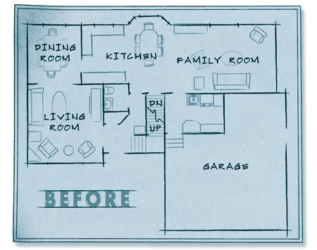 <b>Before</b></br> The old kitchen layout.