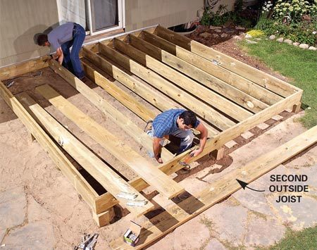 <b>Photo 2: Install the joists and joist hangers</b></br> Cut the joists to length and nail them into place with a pair of nails at each end. Then slide joist hangers onto the end of each joist and nail the hangers.