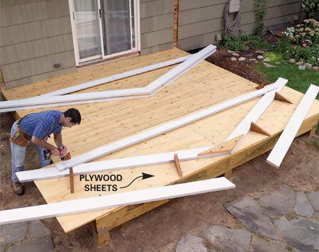 <b>Photo 5: Build the trusses</b></br> Screw two sheets of plywood to the deck and mark the truss shape on them (Figure J). Screw stop blocks along the rafter lines and crosstie line. Assemble the trusses.