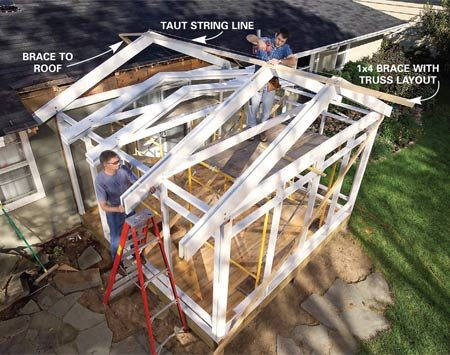 <b>Photo 8: Attach the trusses</b></br> Stand a truss against the house. Plumb and brace it. Set the outside truss and screw a 1x4 brace to it. Then stand and brace the remaining trusses. Toe-screw all of the trusses to the top wall plate.