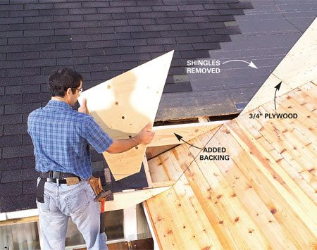 <b>Photo 12: Nail plywood over the tie-in framing</b></br> Cover the tie-in framing with 3/4-in. plywood. Add blocking as needed and fill in the triangular areas between the existing roof and the new roof.