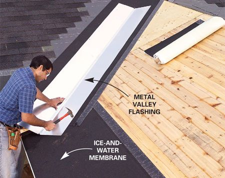 <b>Photo 13: Install flashing in the roof valley</b></br> Adhere ice-and-water barrier along the eaves and up the valleys. Then nail metal valley flashing overtop. Add No. 15 building paper, then shingles.