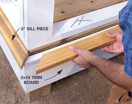 <b>Photo 14: Attach trim and sill to the outer walls</b></br> Nail a 2x10 trim board over the outside joist, 1-1/2 in. below the top surface of the deck. Cut a 2x4 sill piece to width and bevel the top on a table saw. Miter the ends and nail the sill to the top of the 2x10 trim board.