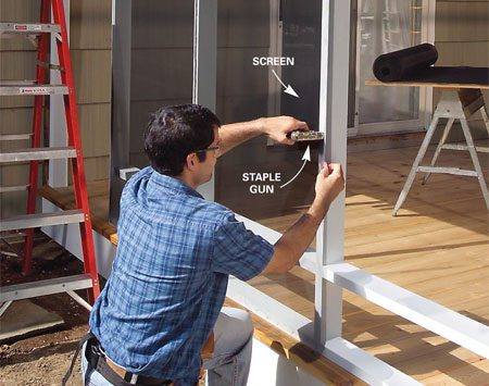 <b>Photo 15: Staple the screen to the walls</b></br> Cut lengths of screening and staple them to the framing. Start by tacking the two corners, making sure the screen is square to the opening. Then stretch the screen slightly and staple the sides, top and bottom. Place 1/4-in. staples every 3 in.