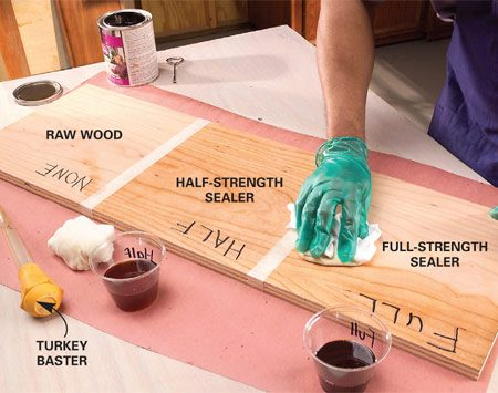 <b>Photo 1: Start with sealer</b></br> Divide a test board into three sections. Leave one section raw, wipe full-strength sealer on one section, and wipe half-strength sealer on the third section. Let it dry for about an hour and sand lightly with 220-grit paper.
