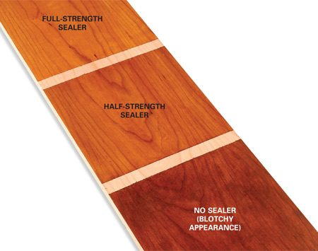 <b>Results of the sealer test</b></br> The test board shows the effects of different amounts of sealer.