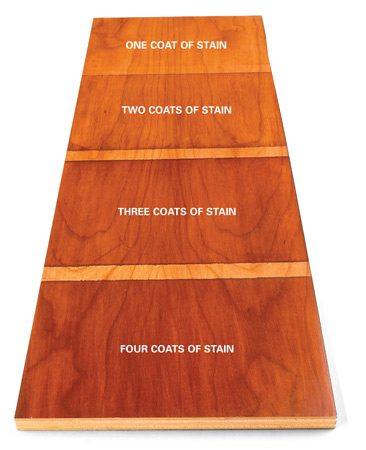 <b>Results of the stain test</b></br> After the test board dries, examine the results in different light and locations to see which amount of stain gives the most appealing results.