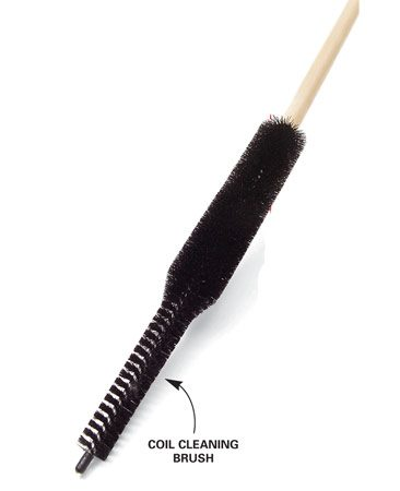 <b>Coil brush</b></br> Coil brushes are sold at appliance stores and home centers.