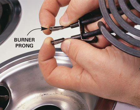 <b>Burner prong problem</b></br> Spread the burner prongs a little to create a better electrical connection.