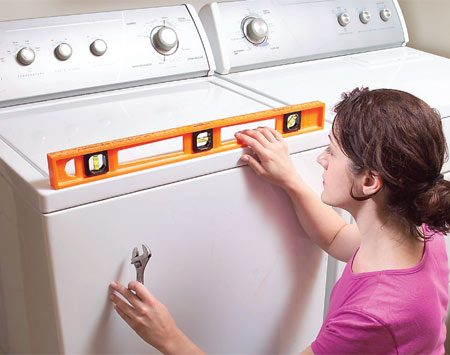 <b>Level the front</b></br> Quiet a noisy washer by leveling it.
