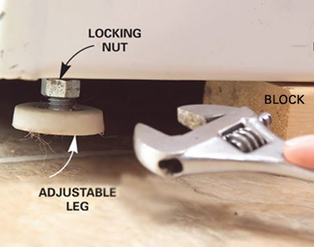 <b>Leg adjustment</b></br> Turn the leg up or down, then lock it in place by tighting the locking nut.