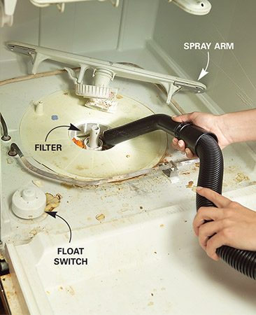 <b>Clean out debris</b></br> Clean the filter and float switch if the dishes don't come out clean.