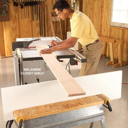 <b>Support long boards when cutting them</b></br> Clamp a straight length of plywood to the side of a sawhorse level with the saw table. Support one end of long boards on the plywood edge while you crosscut them.