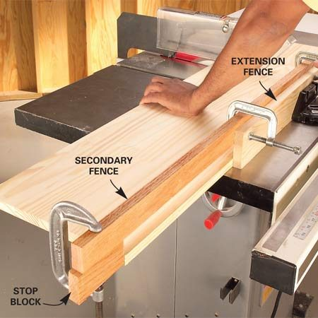 <b>Photo 2: Attach a stop block to a secondary fence</b></br> Clamp a stop block on the end of a long secondary fence. Adjust the position of the secondary fence and clamp it to the extension fence. Then cut long boards to length.