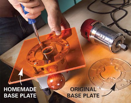 <b>Custom base plate</b></br> Make a base plate for use with a trammel, stretcher or other jig from 1/4-in. acrylic.