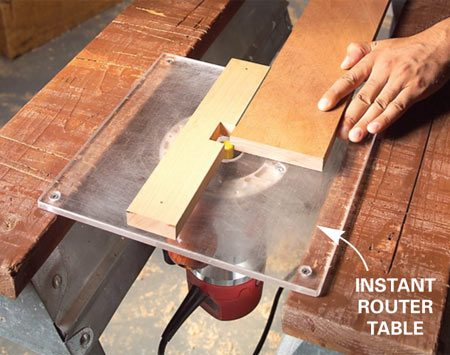 <b>Job-site router table</b></br> Use a large piece of 3/8-in. acrylic to make a quick router table.