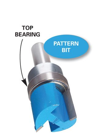 <b>Pattern bit</b></br> Pattern bits have a bearing above the cutting bit; the cutting bit follows whatever the bearing is riding against.  Bits with bearings on the bottom are also available.