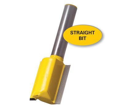<b>Straight bit</b></br> Straight bits have a wide variety of uses, among them flattening uneven surfaces.