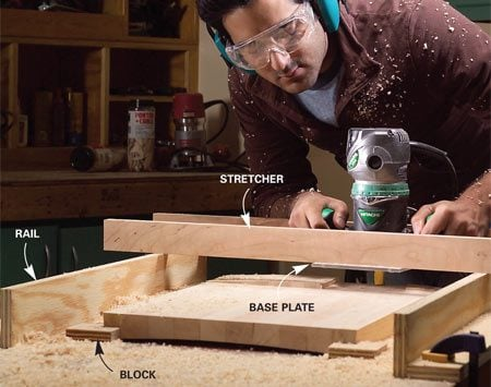 <b>Stretchers</b></br> Plane boards or panels flat with a straight bit. To keep the cutting depth uniform, screw your router base to stretchers that ride on rails. Hold the workpiece with blocks.