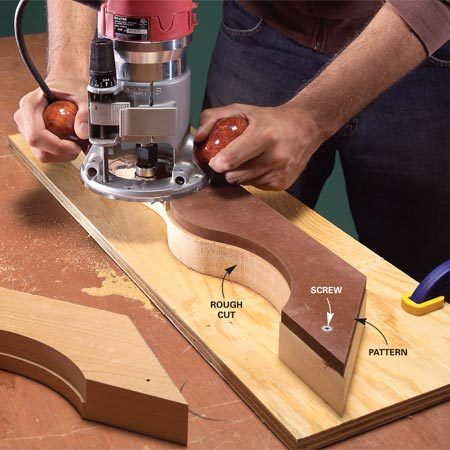 <b>Replicate patterns</b></br> Create a smooth pattern from 1/2-in. MDF. Clamp or screw the pattern to a rough-cut workpiece and cut the final smooth shape with a pattern bit.