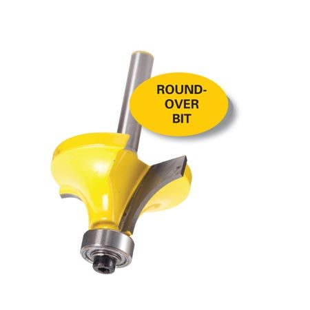 <b>Round-over bit</b></br> Round-over bits come in a wide range of sizes. Use them for edges and custom trim.