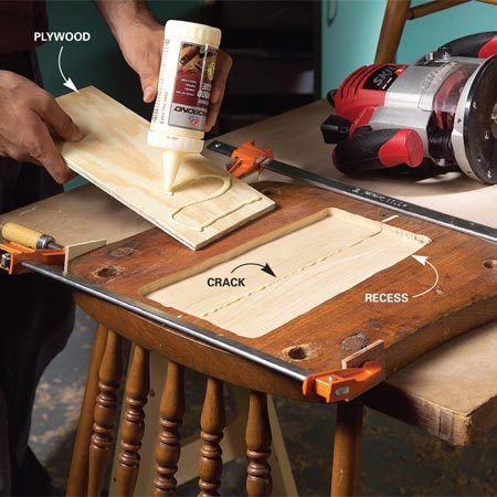 <b>Repair furniture</b></br> Cut a recess on the underside of cracked furniture parts. Force glue into the crack, clamp it together and glue plywood into the recess to strengthen the repair.