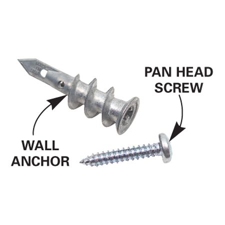 <b>Wall anchor</b></br> Screw in anchors hold better than plastic anchors in drywall.