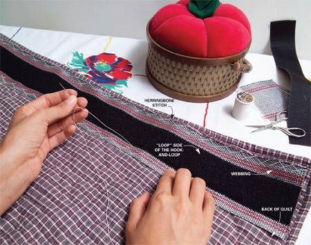 <b>Photo 1: Sew on the loop</b></br> Sew the loop side of the hook-and-loop to the webbing. Then stitch the webbing to the back of the quilt using a herringbone stitch as shown.