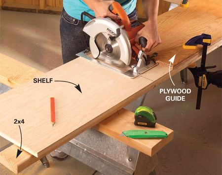 <b>Photo 1: Use a guide to crosscut</b></br> Measure your closet dimensions and cut the plywood vertical dividers and shelves to size (Figure A). Use a guide to make crosscuts perfectly square.