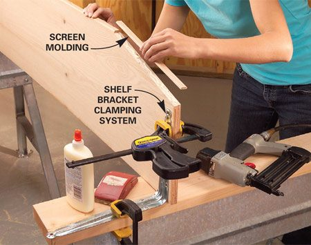 <b>Photo 3: Attach the molding</b></br> Smooth the cut plywood edges with 80-grit sandpaper and a block, then glue and tack 3/4-in. screen molding onto the edges that will show. Apply a stain or finish and let it dry.