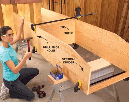 <b>Photo 4: Attach the shelf</b></br> Lay out the intermediate shelf positions with a square, spread glue on the shelf edges and nail the shelf to the dividers with 6d finish nails. Nail the 1/2-in. hook strips to the dividers as well.