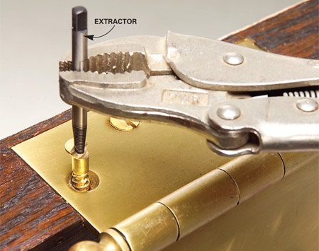 <b>Photo 2: Engage the extractor</b></br> Tap the extractor into the hole and turn it counterclockwise with locking pliers or a tap wrench to remove the screw.
