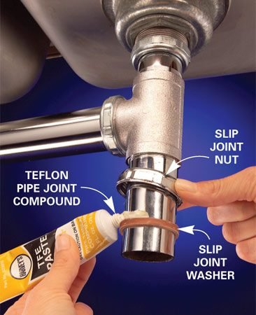 <b>Photo 1: Lubricate pipe</b></br> Pipe joint compound helps lubricate and seal waste line connections.