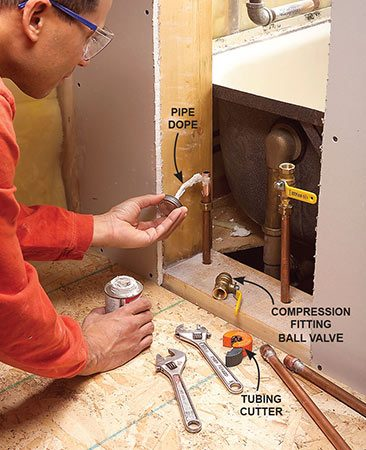<b>Photo 2: Disconnect the plumbing</b></br> Shut off the main water supply valve. Cut out the water supply lines and install ball valves if you don't already have them.