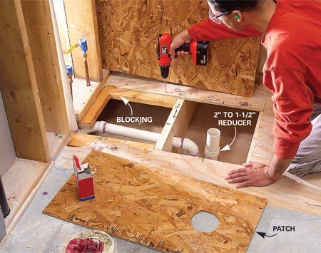 <b>Photo 10: Close the floor</b></br> <p>Add blocking to   shore up the subfloor   and screw a patch to   the framing with 1-5/8-in.   screws. Add a second   layer of 1/2-in. subfloor   if your finished floor covering  will permit it.</p>