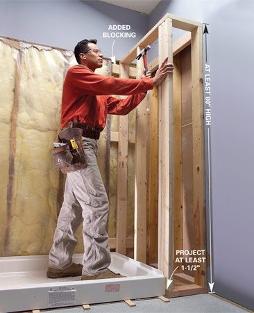 <b>Photo 15: Complete the framing</b></br> Frame the end wall at least 80 in. high for shower doors and curtain rods.
