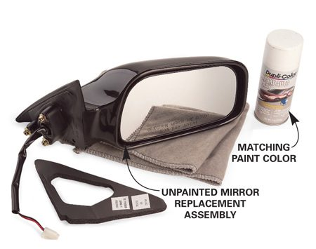 <b>Replacement parts</b></br> Buy an aftermarket mirror for a fraction of the cost and paint it yourself.