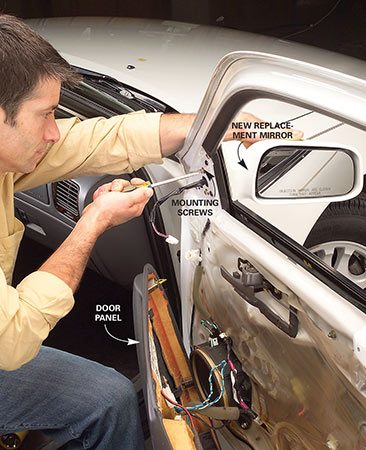 <b>Photo 4: Replace the mirror</b></br> Remove the three mirror mounting screws on the inside of the door and replace the mirror.