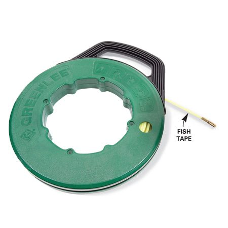 Fish tape is a standard tool for fishing electrical wire through walls and ceilings.