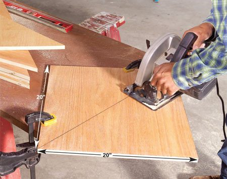 <b>Photo 3: Cut the braces</b></br> Rip 20-in.-wide lengths of plywood and cut them into 20-in. squares. Draw a diagonal line and cut the triangular braces. Use a sharp blade to minimize splintering.