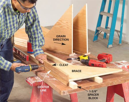 <b>Photo 4: Assemble the braces</b></br> Rest the braces on 1-3/8-in.-thick spacer blocks, then mark the center of each 1x4 cleat. Predrill 1/8-in. holes and screw them together with three 2-1/2-in. screws.