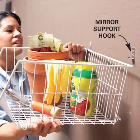 Use baskets for items that can tip, spill or roll off<br/> a shelf.