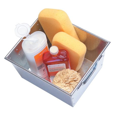 metal box holding liquid soap and sponges