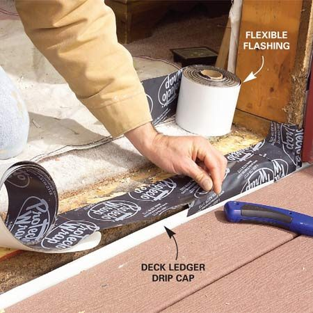 <b>Photo 6: Apply flexible flashing</b></br> Lay flexible flashing over the sill, wrapping it up the opening sides at least 2 in. and over any flashing or siding below.