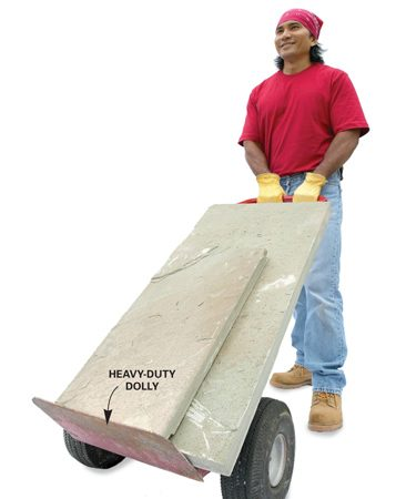 <b>Use heavy-duty dollies</b><br/>Heavy-duty two-wheel dollies ($40 and up) work great for moving flat stones and piles of brick. Special dollies called ball carts have a curved back to fit the root ball of a tree. These are available at some rental centers (about $24 per day) and are perfect for moving boulders.