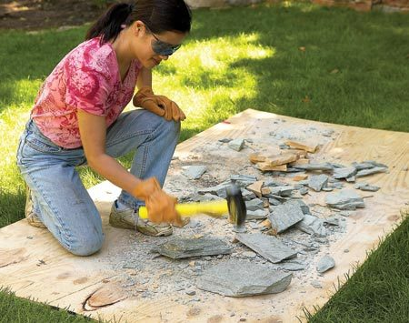 <b>Protect grass with plywood</b></br> Bricks and stone really tear up grass. If you're not careful, you'll have to lay new sod. Plywood keeps shards and soil from mingling with grass and makes it easy to clean up with a shovel. You can also prevent wheelbarrow ruts by covering the route with strips of plywood.