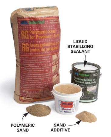 <b>Apply a stabilizing sealant</b></br> Another option is to apply a stabilizing sealant after you finish the walk or patio. The sealant soaks into the sand and glues the grains together. Sealing a patio helps prevent staining from spilled red wine or greasy meat. One brand is TechniSeal Stabilizing Sealant  for Pavers and Sand Joints ($47 per gallon).  Visit <a href='http://www.techniseal.com'>techniseal.com</a> for help  finding a local dealer. Follow the recommended coverage instructions carefully.