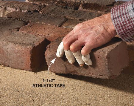 <b>Wrap your fingers with athletic tape</b><br/>Handling brick or stone all day can scrape the skin off your fingertips, even to the point of bleeding. Gloves are OK, but they limit dexterity and wear out quickly. Here&#39;s a tip from our favorite landscape consultant. When you&#39;re laying bricks, pick up a roll of 1-1/2-in.-wide athletic tape at the drugstore and put a few wraps of it around each of your fingers. You can still get a good grip on the bricks and your fingers won&#39;t be raw at the end of the day.