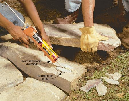 <b>Use polyurethane adhesive instead</b></br> Mortar is traditionally used to secure the top courses of stone on a wall. But polyurethane adhesive does the same thing without the hard work and mess of mixing mortar or the skill needed to trowel it on. Also, polyurethane stays flexible, so it doesn't crack and fall out like mortar does. Combine stone chips with the adhesive to shim stones to keep them steady until the adhesive cures. Polyurethane adhesive is available at home centers and is at least as strong as dedicated landscape adhesives.
